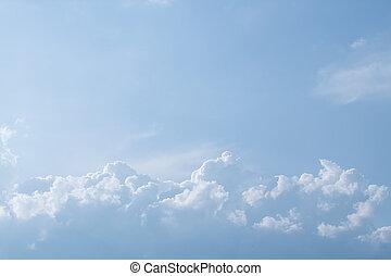 藍色, 天空, 絨毛狀, 云霧, 白色