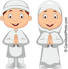 Muslim kid cartoon - Vector illustration of Muslim kid...