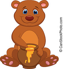 Cute bear cartoon with honey - Vector illustration of Cute...