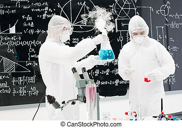laboratory experimental testing - close-up of two people...