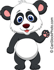 Baby panda cartoon waving hand - Vector illustration of Baby...