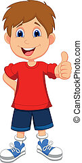 Cartoon boy giving you thumbs up - Vector illustration of...