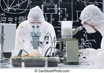 laboratory chemical analysis - general-view of two people...