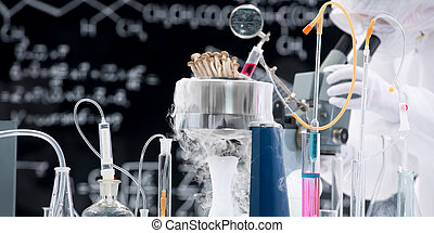 chemistry lab experiment - close-up of laboratory tools and...