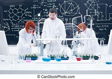 supervised laboratory experiment - general-view of one man...