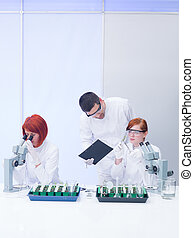 teacher supervising lab experiments - general view of a...