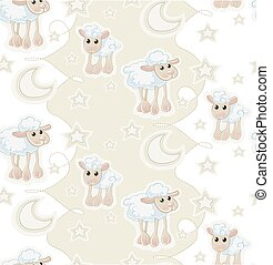 Seamless pattern with sheeps