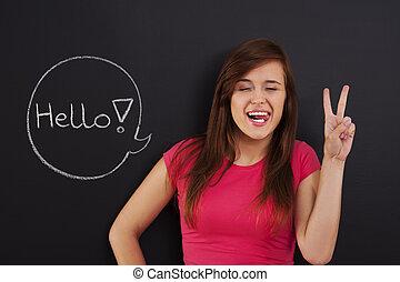 """Beautiful and funny woman say """"Hello"""""""