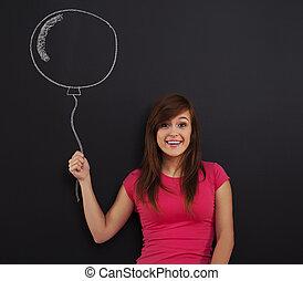 女,  balloon, 手, 保有物, 微笑