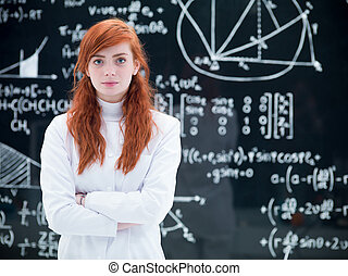 beautiful schoolgirl in laboratory - close-up of schoolgirl...