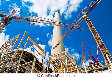 Power plant and cranes - Construction of a flue gas...