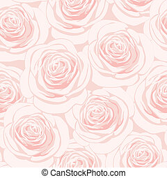 Pink roses seamless pattern - Seamless pattern with pink...