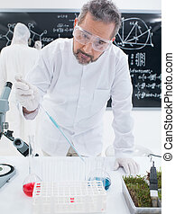 chemistry laboratory experiment - close-up of a scientist in...
