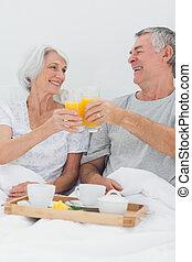 succo, coppia, allegro, loro, arancia,  clinking, occhiali