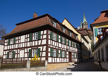 Half-timbered house. - A half-timbered house on a street of...