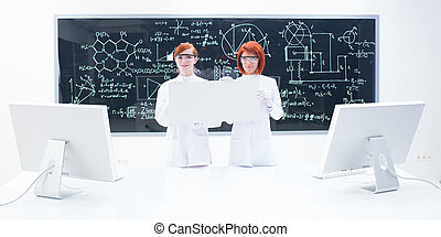 chemistry lab general view - general-view of two students in...