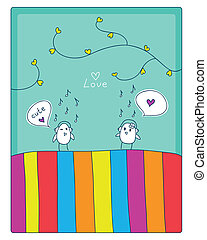 birds, music and love - cheerful card two cute little birds...