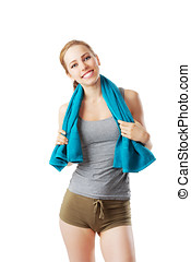 Sporty woman after fitness workout with blue towel isolated on white