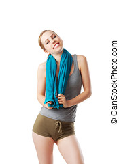 Fitness woman with blue towel isolated on white