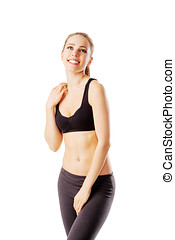 Sporty woman after workout smiling isolated on white