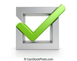 Green check mark - Hi-res original 3d-rendered computer...
