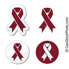 Burgundy ribbon symbol - The national symbol ofbrain...