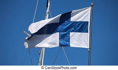 Flag of Finland - HD1080: Finland flag blowing in the wind....