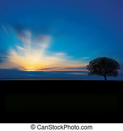 abstract background with clouds tree and sunrise - abstract...