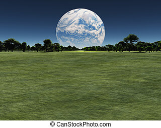 Exo - Alien world with another planet on horizon or earth...