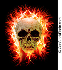 skull on fire - an human skull on fire on a black background