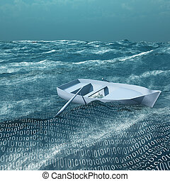 Empty rowboat afloat on binary ocean