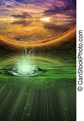 Fantasy landscape with splash