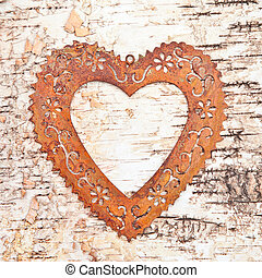 Vintage frame on rustic wooden background made from birch