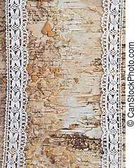 Wooden background with white lace - Wooden birch background...