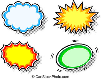 effect bubbles - vector illustration of four colorful effect...
