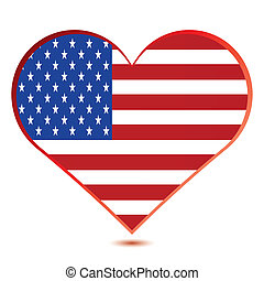 Glossy illustration showing a heart with the flag of the United States of America