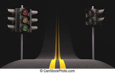 Road Traffic Light - Road asphalt with traffic light.