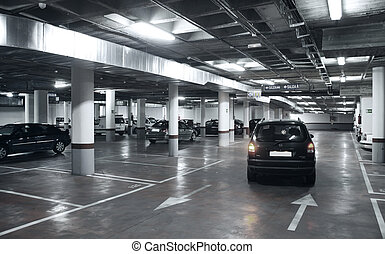 Underground parking garage with cars bi tone