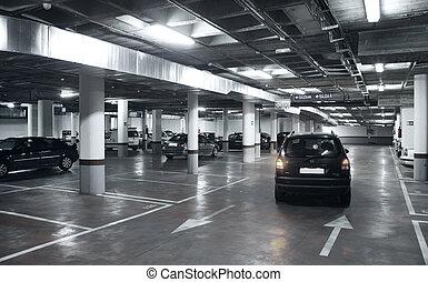 Underground parking garage with cars bi tone