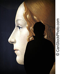Man inside an Art Gallery - Man shadow figure inside a...