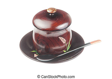 Traditoinal teacup, dish and spoon
