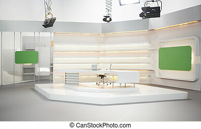 Television set - Professional modern television set for news...