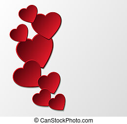 Red paper hearts background. Many similarities in the...
