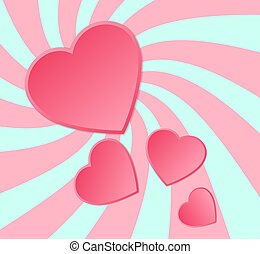 Pink paper hearts background.
