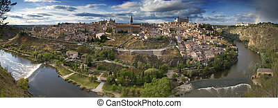 Panoramic view in the old city in Toledo Spain