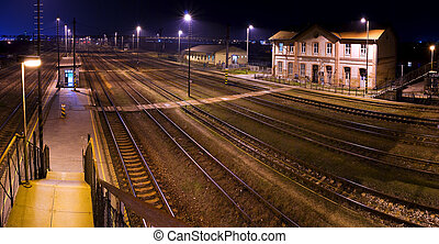 Historic train station, at night