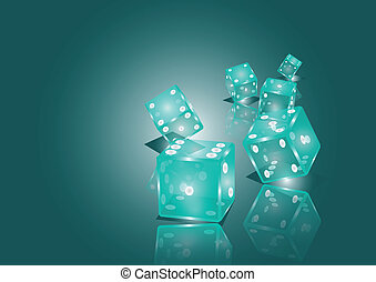 dices - vector illustration of blue dices. 10 EPS