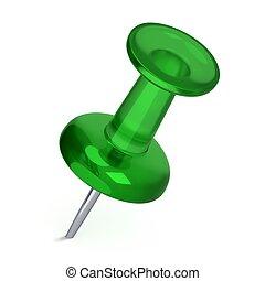 3D Realistic Thumbtack - Green