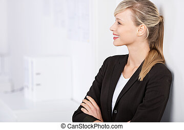 Businesswoman in arms crossed