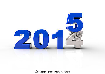New Year 2015 and Old 2014,Render 3D Over white background
